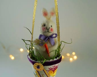 Beautiful Hanging Easter Bunny in a Pretty Handmade Cone