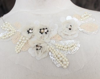 Cute beaded    applique  with rhinestones and flowers