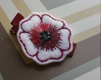 Darker Red And White Feltie Flower Hair Clip / Non Slip Hair Clip / Baby To Adult Hair Clip/  Ready To Ship