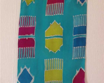Ikat  Wall Hanging in two layers of silk with sequin and beaded 1.5 inch fringe.