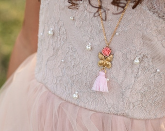 Girls Butterfly and Pink Tassel Necklace, Girls Pink Rose Tassel Necklace, Girls Jewelry