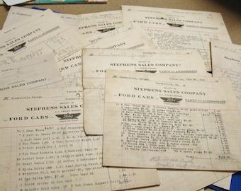 1918 Receipts Ford Car Parts Clarkesville Garage Stephens Sales Toccoa GA Original
