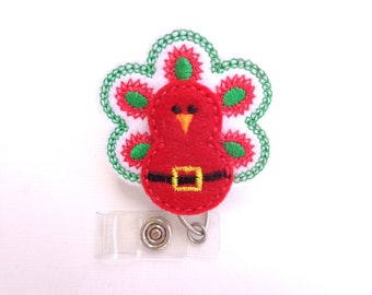 SALE - Christmas badge reel - Badge Holder Retractable - Christmas Peacock - red white felt badge holder - nurse badge reel medical staff