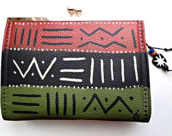 Tribal Immunity Hand Painted Vegan Leather Assata African 3-way Clasp Clutch Mudcloth Crossbody Handbag