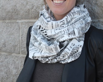 Newsprint Infinity Scarf: Black and White, Organic Cotton Jersey, Fall Scarf, Made in Canada, London Ontario, SIlkscreen Printed