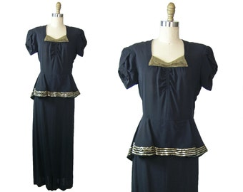1940's Black Rayon Peplum Dress with Gold Sequins
