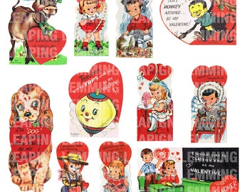 1950s Valentines High Resolution Digital Files - 11 Separate Files for Scrapbooking, Decorating, Etc. - INSTANT DOWNLOAD