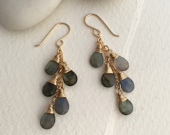 Labradorite Waterfall Earrings