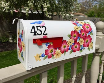 Hand painted mailbox, red flower mailbox, colorful flower mailbox, yellow flower mailbox, custom mailbox,  flower mailbox, daisies mailbox
