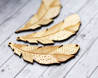 Feather pendant, Wooden feather, Feather ornament, Large wood pendants, lasercut wood, Feather with pattern, Brooch components, Light wood