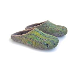 Felted natural wool slippers for men / Gray / silver / haze /platinum / men   / US 13