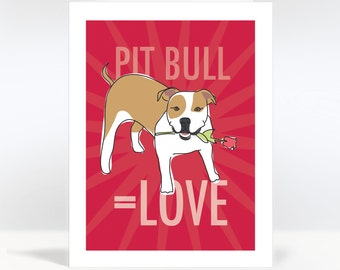 Valentines Dog Cards - Pit Bull Equals Love - Tan and White Pit Bull - I Love You Cards