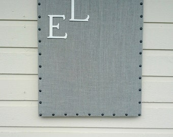 Pinboard - Upholstered in your choice of burlap color, solid wood frame under the fabric with upholstery tack details, office, kitchen decor