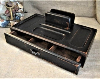 Upcycled Wooden Valet for Dad's Dresser or Desktop / Black Desk Organizer/Dresser Valet / Shabby Black Organizer for Desk or Dresser
