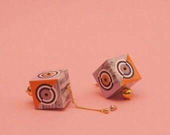 """SALE Geometric Earrings // Marble Earrings // Graphic Earrings // Statement Jewelry // Art Deco // Mod Earrings // 60s Inspired // The """"Tran"""