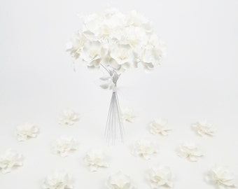 W H I T E on W H I T E  Bouquet - Handmade Paper Flowers -  - Made to Order - Customize your style and colors