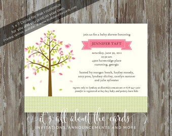 "Baby Shower invitations - Digital file ""Pink - Tree of Love"" design"