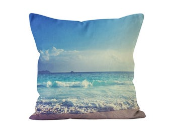 Ocean Sea Blue Water Sky Decorative Throw Pillow Case with optional insert - Glamour,  throw pillow, Photography Pillow, Christmas Gift