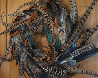Rooster, Peahen, and Pheasant Feather Wreath - 23 Inch Size