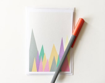 Abstract Mountain Card, Blank Greetings Card - Pastel Peaks