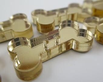 6 pcs Acrylic Bone Buttons - 20mm - Plexiglass Button - Plastic Button - Fashion Scrapbooking sewing - Golden Mirror (BUP009GM)
