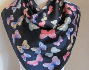 "Beautiful Dark Blue Butterflies Silk Scarf // 26"" Inch 66cm Square // Best of the Best"