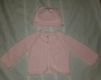 Baby Girl Knitted Pink Sweater and Hat 0 to 3 months