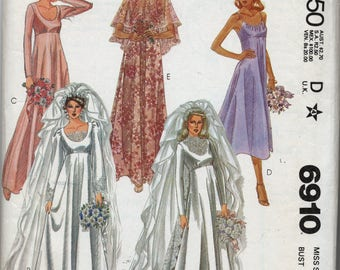 Misses' Bride and Bridesmaid Gowns, Train and Cape Sewing Pattern - McCall's 6910 - Size 6 - Bust 30 1/2