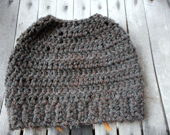 The Pecan Messy Bun Beanie Hat. Organic Alpaca Yarn Blend