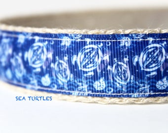 Turtle Dog Collar, Sea Turtles, Preppy Dog Collar,  Sea Creatures Dog Collar, Adjustable Dog Collar, Dog Collar
