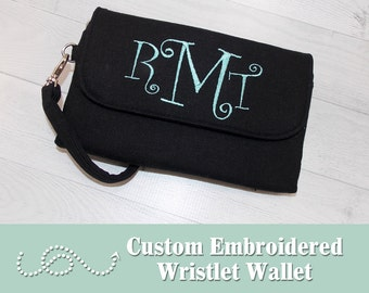 Custom Embroidered Wallet • Custom Cell Phone Wallet • DOUBLE ZIP WRISTLET Wallet • Monogram • Quality Wallet