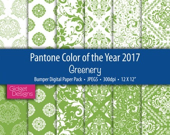 Greenery Bumper Digital Paper Pack Pantone Colour of the Year 2017 Damask Patterns