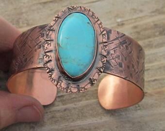 Turquoise Copper Bracelet Cuff
