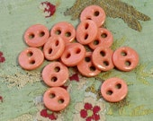 """15 Vintage  glass  buttons coral orange peach pink gorgeous 9/16"""" doll dress china old fashioned look primitive"""