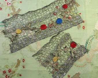 """Antique lot silk ribbonwork flowers metal lace trim tiny roses red blue yellow 12"""" ombre trim doll flappers"""