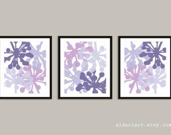 Modern Flower Buds Art Prints - Set of 3 prints - Purple Decor - Lilac Art - Modern Flowers Wall Art - Flowers Posters - Aldari Art