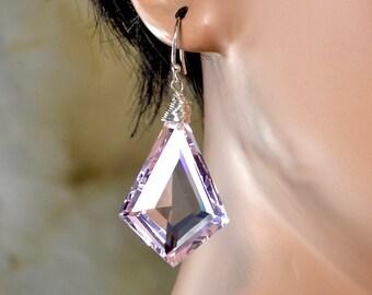 LP 1343  Sparkling,Kite Shaped, Faceted Pink Quartz Earrings