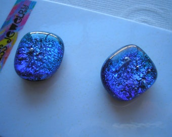 Magnets Fused Glass Blue Green Dichroic Sparkle Set of Two Refrigerator Kitchen Magnets Matching Stocking Stuffers Office Hostess Gift Kiln