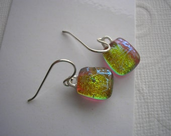 Earrings Small Drop Golden Shimmer Color Shifting Dichroic Fused Glass Jewelry Lightweight Earrings Petite Sterling Earwires Dangles Dichro