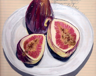 Giclée Print Figs on a Plate in Gouache