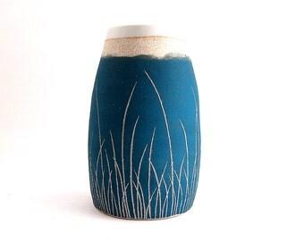 Ceramic Teal Blue Grass Pod Vase
