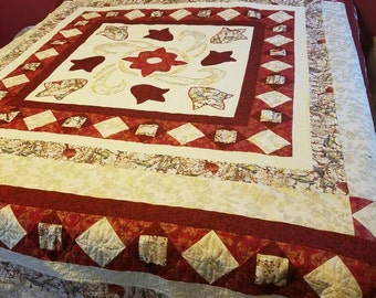 Red and Cream with Cardinals fabric Queen Quilt
