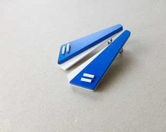 blue white geometric post earrings, minimalist contemporary jewelry