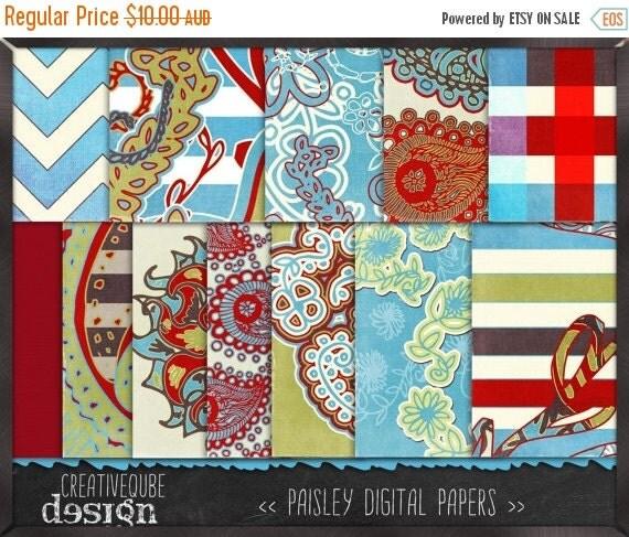 90% OFF Sale Digital paper, Digital Scrapbook paper pack - Instant download - 12 Digital Papers - Paisley