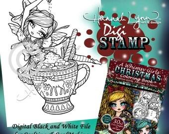 PRINTABLE Digi Stamp Hot Cocoa Fairy Whimsy Girls Christmas Coloring Page Fun Fantasy Art Hannah Lynn