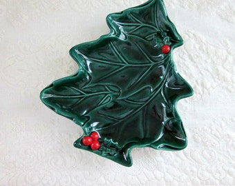 Vintage Lefton Ceramic Green Holly Christmas Tree, Pattern 2691 - Collectable - Christmas Candy Dish or Cookie Plate - Bobann23 Kitchen