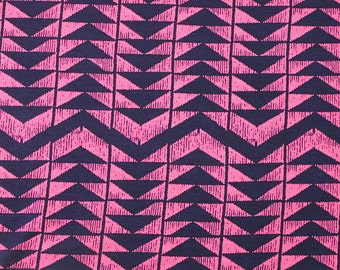 Fuchsia Pink and Navy Geometric Triangle Stripe Rayon Spandex Jersey Knit Fabric, 1 Yard
