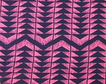 Fuchsia Pink and Navy Geometric Triangle Stripe Rayon Spandex Jersey Knit Fabric, 1 Yard