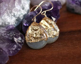 charcoal and gold leaf teardrop earrings on 14 karat gold fill ear wires - large size