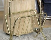 Brass Bamboo Look Regency Style Magazine Rack